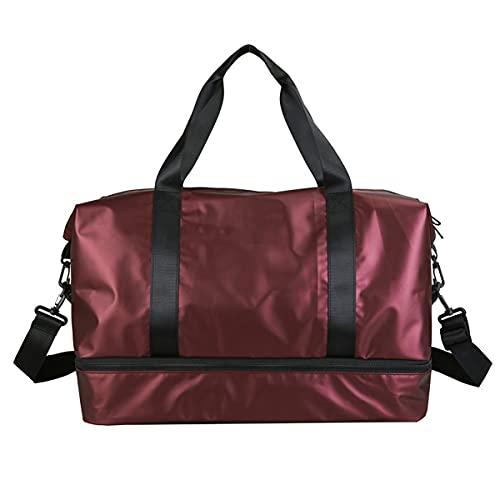 LINGBD Bolsa de gimnasio para hombre deportiva de mujer con compartimento para zapatos y bolsillo separado para el baño seco, impermeable, bolsa de entrenamiento para gimnasio, apto para viajes, rojo