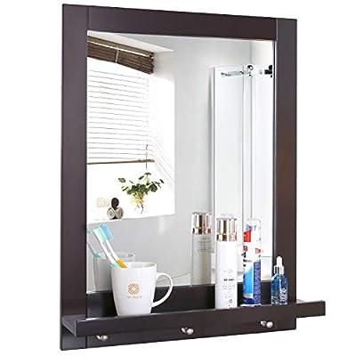 Homfa Bathroom Wall Mirror Vanity Mirror Makeup Mirror Framed Mirror with Shelf and 3 Hanging Hooks