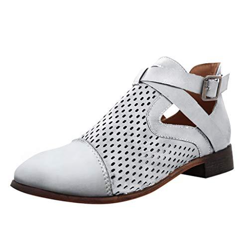 LANSKIRT Botas Romana Mujer Botas Cortas de Tacón Grueso Zapatos Retro Botines Mujer Invierno Zapatos Planos 35 EU - 43 EU