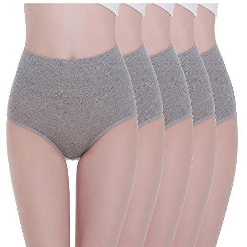 Tuuhaw Bragas para mujer, paquete de 5, braguitas, braga-faja, algodón, talle alto, transpirable gris L