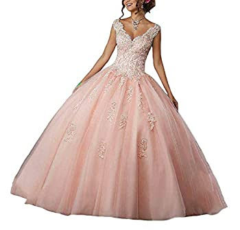 Princess Girl s V-Neck Beading Lace Quinceanera Dresses Sweet 16 Appliques Quinceanera Prom Ball Gown Blush Pink 6
