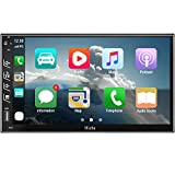 Hieha Double Din Car Stereo with Bluetooth Car Audio Receiver Support BT/TF/USB/AUX, Touch Screen 7 inch Car MP5 Player FM Radio with Rear View Camera, Phone Mirror Link