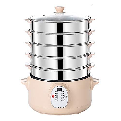 SSMDYLYM Vaporera eléctrica para Alimentos Cacerola de Acero Inoxidable Programación de Tiempo...