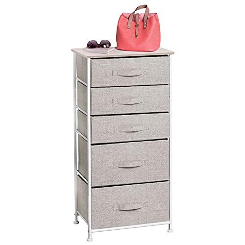 mDesign Cómoda de tela – Práctico organizador de armarios con 5 cajones en dos tamaños – Cajonera estrecha para...