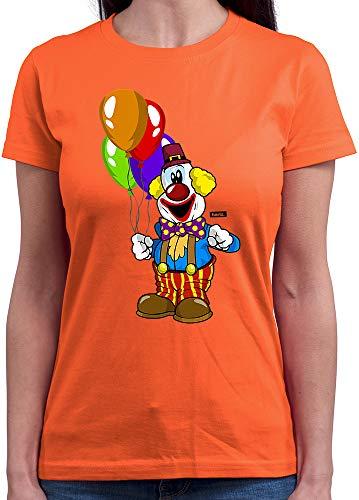 HARIZ  Damen T-Shirt Rundhals Clown Luftballons Fröhlich Karneval Kostüm Inkl. Geschenk Karte Orange M