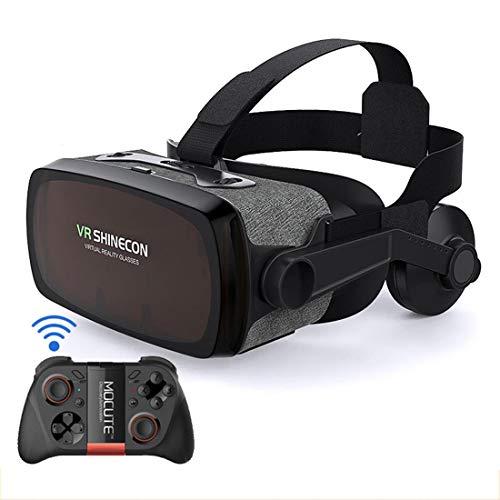 Gafas De Realidad Virtual VR, Gafas Inteligentes Mil Espejo Mágico, Auriculares De Nueve Generaciones, Gafas VR Integradas, Gafas De Realidad Virtual, Gafas VR para Películas Y Videojuegos 3D VR,C3