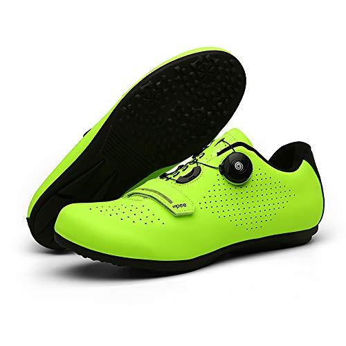JQKA Calzado De Ciclismo Calzado De Ciclismo Sin Bloqueo Calzado Casual Unisex Buena Transpirabilidad Zapatillas De Bicicleta con Fondo Resistente Al Desgaste(Size:40,Color:Verde)