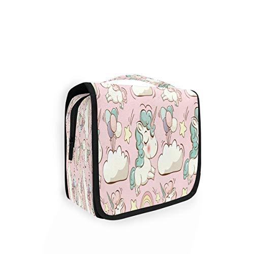 Kulturtasche zum Aufhängen, niedliches Tier-Regenbogen-Einhorn-Organizer, Kulturbeutel, Kosmetiktasche, Make-up-Tasche, Reisetasche mit 4 Fächern für Frauen