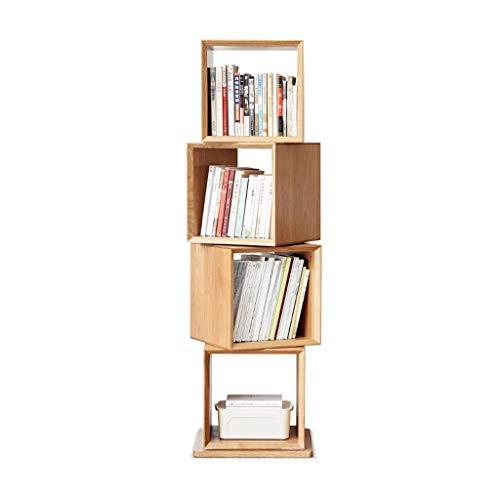 Kiter Librero Estantería para Libros Estantería de Madera Maciza Inicio Estantería giratoria de Roble Estante de Piso Simple Sala de Estar Estante de Almacenamiento Simple Estantes de Libros Creativo