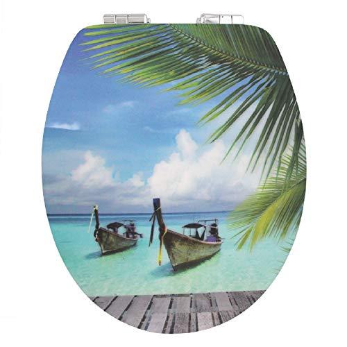 WC-Deckel 3D-Motiv Absenkautomatik Holzkern MDF WC-Sitz - versch. Motive, Muster:Curaçao (Strand. Boot)