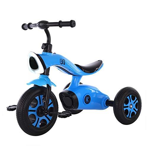 GCXLFJ Triciclo Bebe Infantil 4 En 1 Azul Triciclo,1-6 Años De Edad Niño Rojo Triciclo,Ajustable con Asa Amarillo Triciclo con Musica (Color : Blue)