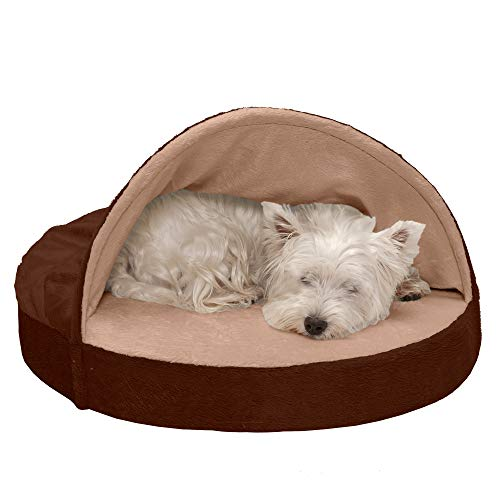 Furhaven Cooling Gel Foam Pet Bed for Dogs and Cats - Microvelvet Snuggery Blanket Burrow Nest Dog Bed with Removable Washable Cover, Espresso, 26-Inch