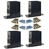 JH 4x4 Wood Fence Post Base Brackets   Heavy Duty Powder-Coated 13-Gauge Steel Anchor Support, Come with Screws and Concrete Anchors (4 Pack)