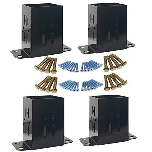 JH 4x4 Wood Fence Post Base Brackets | Heavy Duty Powder-Coated 13-Gauge Steel Anchor Support, Come with Screws and Concrete Anchors (4 Pack)