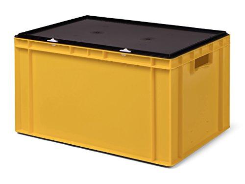 Transport-Stapelbox/Lagerbehälter, gelb, mit schwarzem Verschlußdeckel, 600x400x320 mm (LxBxH)
