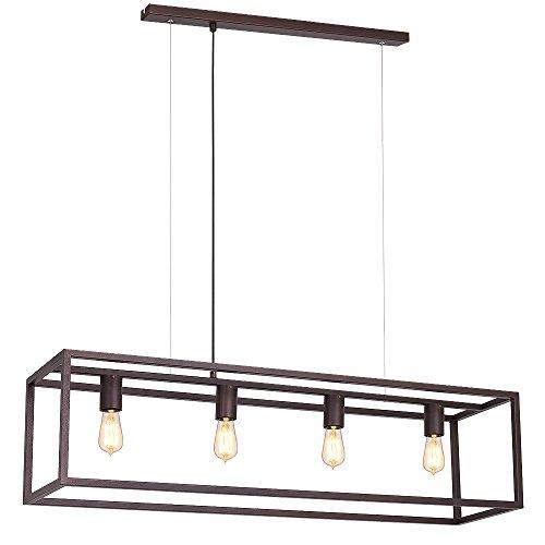 Raffinierte Hängeleuchte in Kupfer Bauhaus Stil 4x E27 bis zu 60 Watt 230V aus Metall, für Küche Esszimmer Pendelleuchte Hängelampe Pendellampe innen