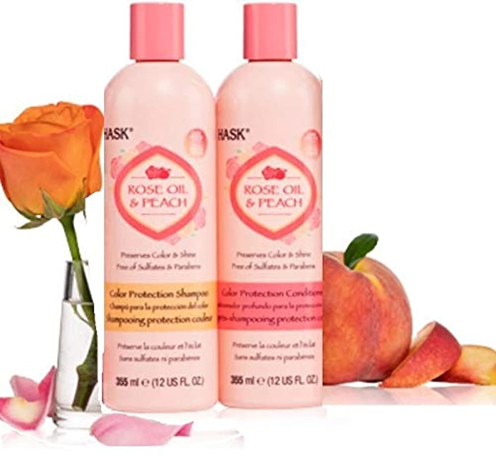 HASK Rose Oil & Peach Color Protection Shampoo & Conditioner (355 ml 12 US FL. OZ. Each) - Set of 2