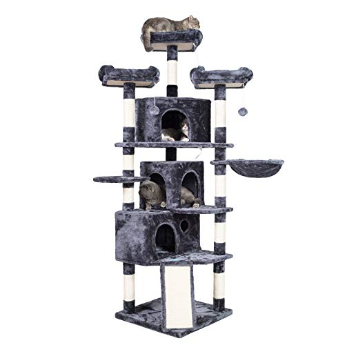 Hey-brother XL Size Cat Tree, Cat Tower with 3 Caves, 3 Cozy...