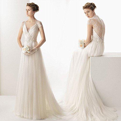 Een Koreaanse eenvoudige schouder diep V kraag bruiloft Een swing trouwjurk kant halter staart trouwjurk