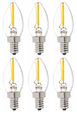Bulbright C7 Kerze LED Glühbirne E14 Edison Lampe ersetzt 10 Watt, 1W, 60 Lumen, 2700K warmweiß, LED Kerzen Filament Fadenlampe, 220V AC, für Hängelampe Wandleuchte Pendelleuchte 6er Pack (1)
