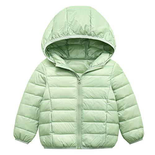 Bambini Giacche di Piuma Invernale Piumino Ragazzi Ragazze Cappuccio Giacche da Neve Capispalla Caldi Verde 3-4 anni