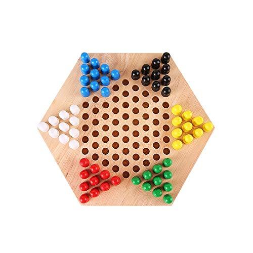 中国語チェッカー、木製六角チェッカー、多機能テーブルゲーム、カラーボックス包装 (サイズ : 24*24*4cm)