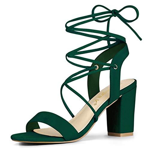 Allegra K Women's Lace Up Block High Heels Green Sandals - 8 M US