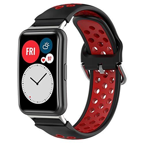Braleto Correa de Reloj Compatible con Huawei Watch Fit, Banda de muñeca Suave y Transpirable Silicona, Deportiva Ajustable Pulsera Accesorios (Rojo Negro)