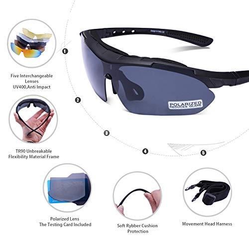 Carfia Multi TR90 UV 400 Outdoor Sport Brille Polarisiert Sonnenbrille Radbrille mit 5 wechselbare Linsen für Skilaufen Golf Radfahren Laufen Angeln Baseball - 4