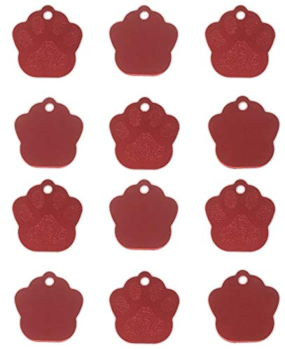 TheAwristocrat 12 Pack Blank Pet ID Tags for Dogs & Cats Wholesale - Select from a Variety of Shapes & Colors (Red, Paw)