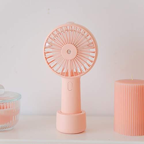 XLLQYY Batería portátil niebla de agua ventilador eléctrico USB recargable de mano mini ventilador de refrigeración humidificador de aire acondicionado para exterior (rosa)