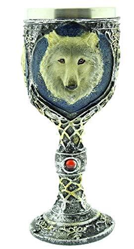 EVRYLON Mittelalterlicher Kelch Wolf Hund Tasse Emblem 3D Edelstahl Harz Kelch Ritter Gothic Geschenkidee Getränke Wein Wikinger Mittelalter Halloween Horror