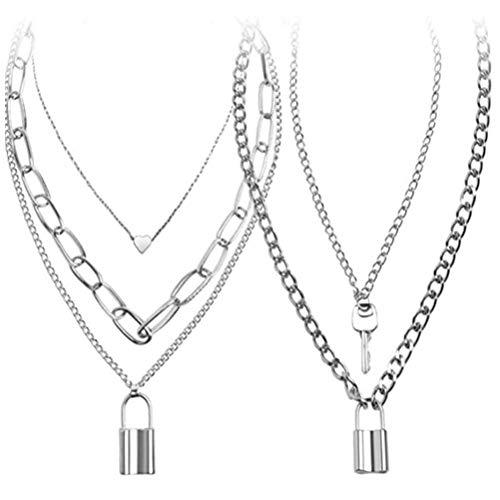 Schloss Anhänger Halskette, 4 Stück Unisex Einfache Schloss Schlüssel Anhänger Halskette Lange Punk Kette Mehrschichtige Kette für Frauen Mädchen