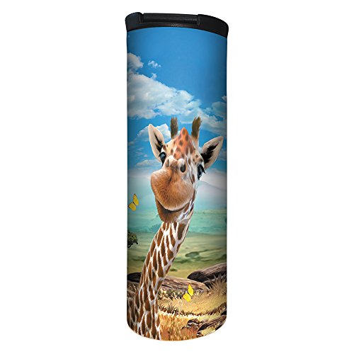 Tree-Free Greetings Barista Tumbler Vacuum Insulated, Stainless Steel Travel Coffee Mug/Cup, 17 Ounce, Giraffe Selfie