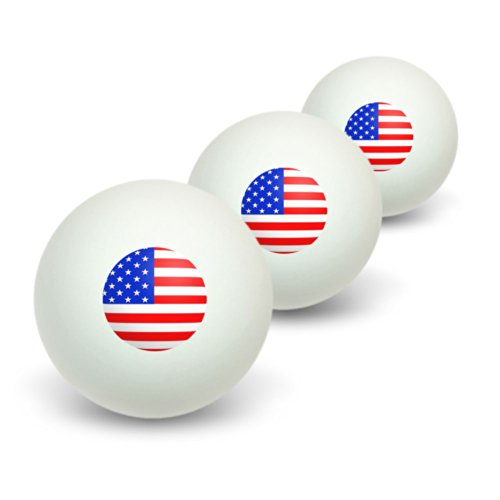 Great Deal! Graphics and More American USA Flag - Patriotic Novelty Table Tennis Ping Pong Ball 3 Pa...