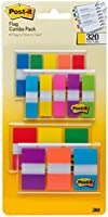 Post-it Flags Assorted Color Combo Pack, 320 Flags Total, 200 1-Inch Wide Flags and 120.5-Inch Wide Flags, 4 On-The-Go...