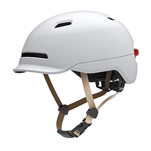 SFBBBO Casque Velo Adulte Vélo en Plein air VTT Casque Intelligent vélo électrique Lampe de Course Moto vélo rétro-éclairage Enfants Casque Hommes Femmes L (22.44-24.02 Pouces) Blanc