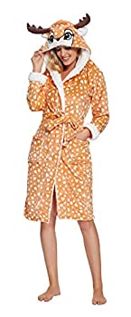 XVOVX Adult Unicorn Robe Soft Flannel Plush Hooded Bathrobe Bathing Suits for Women Girls Adults  Medium Deer