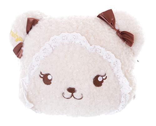 LB-7014-1 Beige Teddy Bär niedlich Gesicht bestickt Schleifen Frottee Plüsch Tasche Kawaii