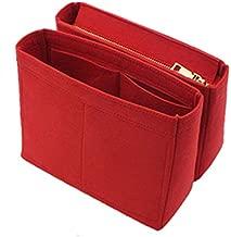 2Pcs Handbag Organizer Insert, Felt Purse Organizer with Zip For LV Bag in Bag NeoNoe Noe Series Red