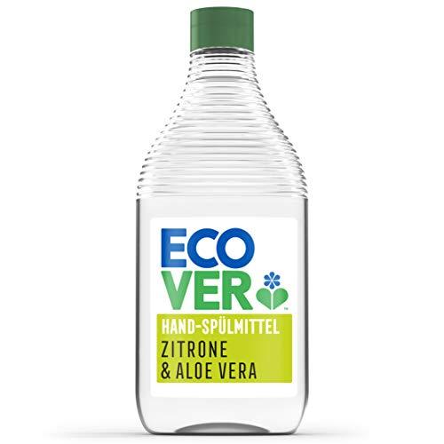 Ecover Hand-Spülmittel Zitrone & Aloe Vera (450 ml), nachhaltiges Spülmittel mit Zuckertensiden, kraftvoller Fettlöser, Geschirrspülmittel flüssig und auf pflanzlicher Basis