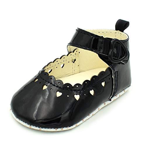 QINJLI Baby Princess schoenen, PU-uitsparing love 0-1 peuterschoenen, zachte onderlegger, licht ademend, 11-13 cm 12cm C