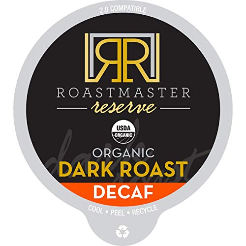 Roastmaster Reserve Organic Decaf Dark Roast Coffee – 20ct. CO2 Decaf Coffee - Single Origin Colombian Coffee, Solar Energy Produced Recyclable Low Acid Coffee Pods (6.8 PH Level), K Cup Compatible
