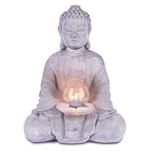Durx-litecrete Meditation Decor,Buddha Tealight Candle Holder,Concrete Buddha Candle Holder,Zen/Yoga Accessories,Spa/Boho Decor (1pc Large Sitting Buddha)