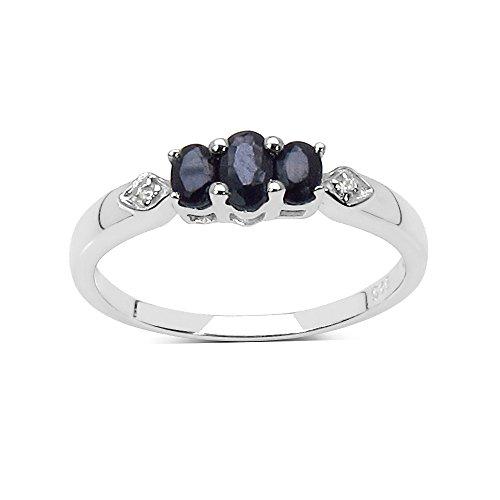 De Sapphire Ring-collectie : Dames sterling zilveren steen zwarte saffier verlovingsring, Eeuwigheidsring, Moederdag, Jubileum, Cadeau, Ringgrootte 9,10,11,12,13,15,16,17,19,24,20,15,6,21,22