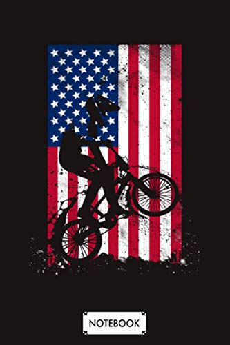Bmx Racing American Flag Notebook: 6x9 120 Pages, Planner, Lined College Ruled Paper, Matte Finish Cover, Diary, Journal