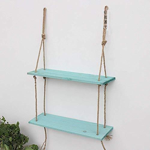 Hangrek van touw met 2 niveaus in vintage-stijl, shabby-chic-stijl, met plank van touw, rustiek drijvend rek met meerdere niveaus voor het ophangen aan de muur voor het bewaren van het huis (kleur: natuur) Blauw