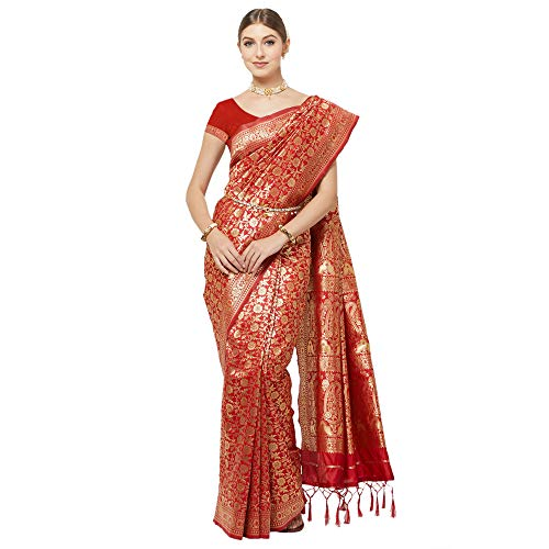 IDIKA Women's Banarasi Art Silk Saree With Blouse Piece (IDIKA_Red)