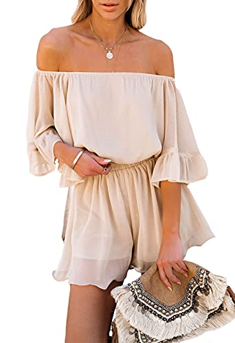 Fixmatti Ladies Chiffon Rompers Flare Sleeve Off Shoulder One Piece Summer Shorts Outfits Apricot L
