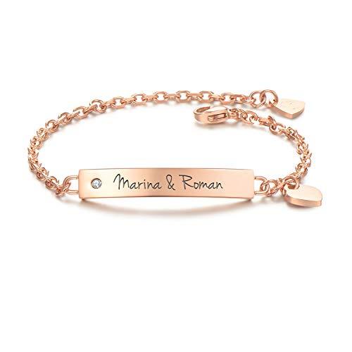 URBANHELDEN - Armband mit Wunschgravur und Zirkonia - Graviertes ID-Armband mit Herz-Anhänger - Damen Gravurarmband Name - Armkette Schmuck - Bar Kristall Gravur - in Rosegold